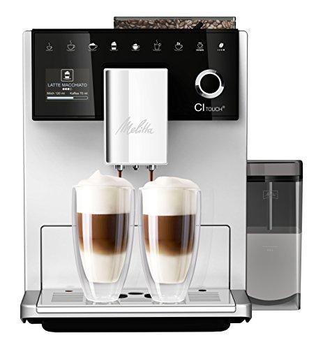 Melitta Machine à Café et Boissons Chaudes Automatique, Moulin silencieux, 10 spécialités de café, Réservoir à Lait inclus, Ecran couleur TFT tactile, CI Touch, Argent , F630-101