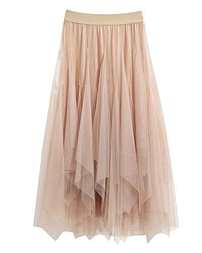 Falda Larga De Tul con Cintura Elástica Falda De Gasa Suave Falda De Tul Tutu Plisada Falda para Mujer Albaricoque