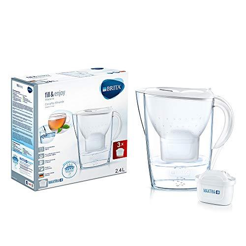 BRITA Kit Marella con 3 filtri MAXTRA+ - Caraffa filtrante per acqua, capacità 2.4 L, bianca, 3...