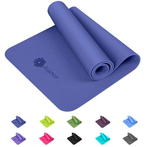 Aisoco Stuoia di Yoga Premium TPE,Antiscivolo,Ecologico,Innocuo per la Pelle,Tappetino per Il...
