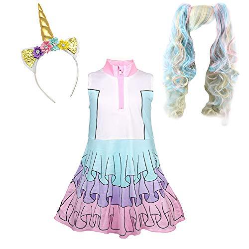 VersusModa Simile LOL Abito Costume Carnevale Bambina Simil Unicorn Dress LOLUNIC5 (Set 3pz con LOLUNICHB2 - Set 3pc with LOLUNICHB2, 120)