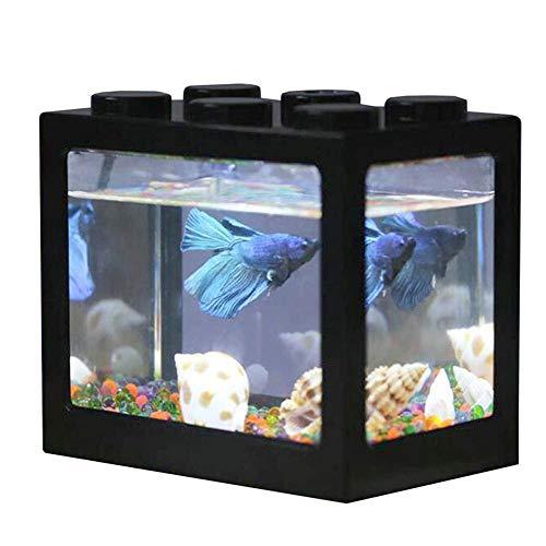 AUOKER USB Plastic Fish Tank Mini Cube Aquarium with LED Light Table Desk Decoration for Betta Goldfish and Small Fishes