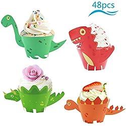 cupcake dinosaurio ZoomSky 48pcs para decorar pastel en taza de decoración para tartas en la fiesta de cumpleaños de comunion de los niños