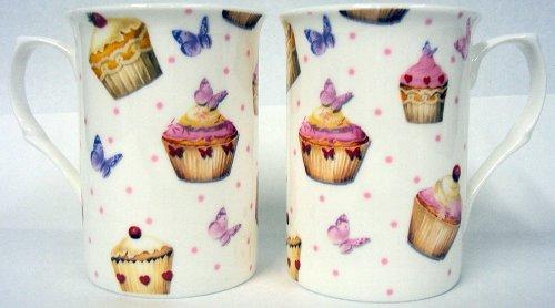 Cupcakes y mariposas tazas juego de 6tazas de porcelana decorado a mano en el Reino Unido entrega GRATUITA Reino Unido