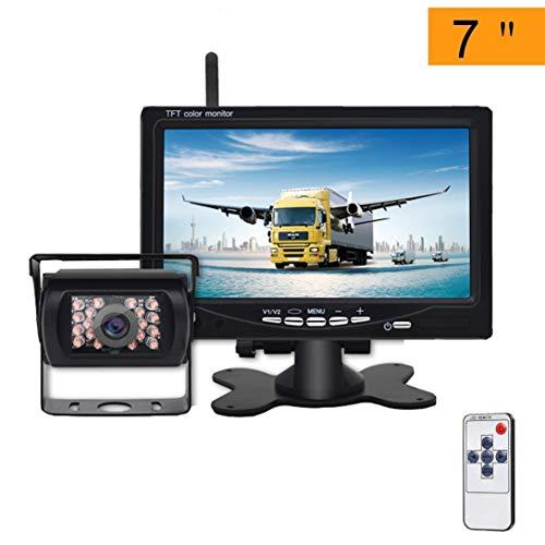 Telecamera Retromarcia Senza Fili per Auto con 7 Pollici Monitor LCD Kit, Telecamera di Backup Impermeabile IP68 Segnale Stabile Visione Notturna per Auto, camion, furgoni, Auto da Campeggio