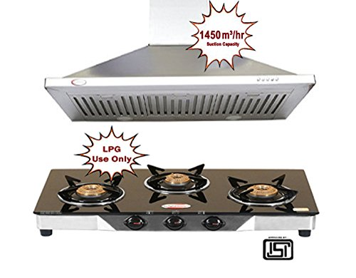 Bright Flame Aster 90cm Stainless Steel Kitchen Chimney & 3 Burner Stainless Steel Black Glass Top Manual Combo