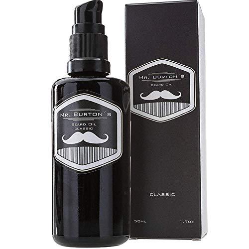 Bartöl - Mr. Burton´s Beard Oil - CLASSIC - unverwechselbarer Duft - 50ml Bart Öl für die Bartpflege - TESTSIEGER 2018 - Made in Germany mit Arganöl Tierversuchsfre