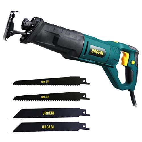 URCERI Sierra Sable 850W, 0-2800SPM Velocidad justable y mango giratorio, 4 cuchillas cambiable, botón de bloqueo, con linterna de trabajor para cortar metal, madeta, plástico, etc.