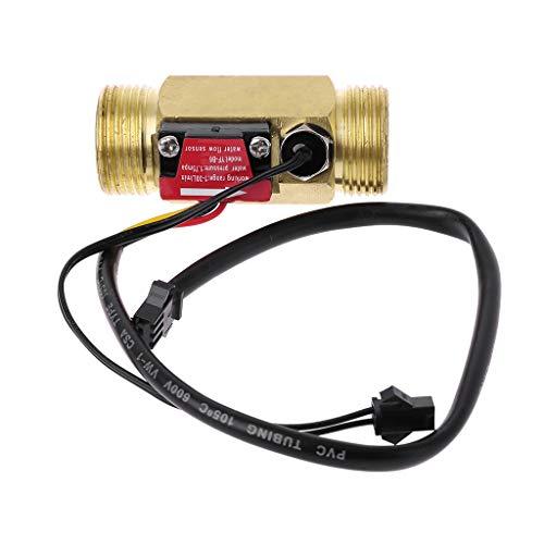 Meiqm G3/10,2 cm flusso flusso dell'acqua interruttore con rilevamento della temperatura per turbina, liquido sensore, involucro in rame, flussometro
