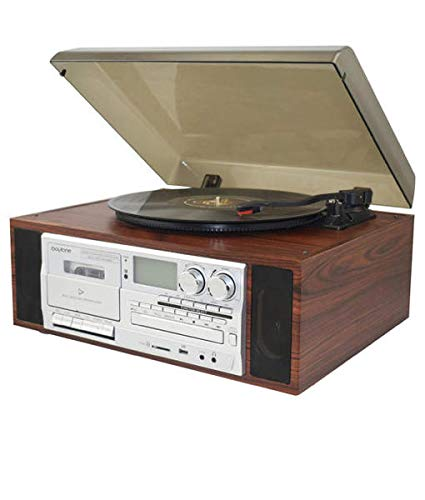Boytone BT-38SM Bluetooth Classic Turntable Record Player System, AM/FM Radio, CD/Cassette Player, 2 Built-in Stereo Speakers, Record from Vinyl, Radio, and Cassette to MP3, SD Slot, USB, AUX.