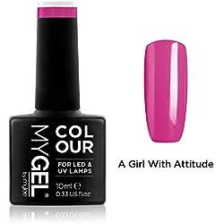 Esmalte de gel para uñas MyGel, de MYLEE (10ml) MG0020 - A Girl With Attitude UV/LED Nail Art Manicure Pedicure para uso profesional en el salón y en el hogar - Larga duración y fácil de aplicar