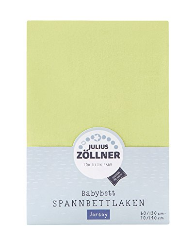 Julius Zöllner 8320147760 - Spannbetttuch Jersey für das Kinderbett, Größe: 60x120 / 70x140 cm, Farbe: grün