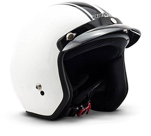ARROW HELMETS AV-47 Pilot Vespa-Helm Jet-Helm Scooter-Helm Helmet Chopper Biker Mofa Retro Vintage Bobber Cruiser Motorrad-Helm Roller-Helm, Dot Zertifiziert, inkl. Stofftragetasche 1