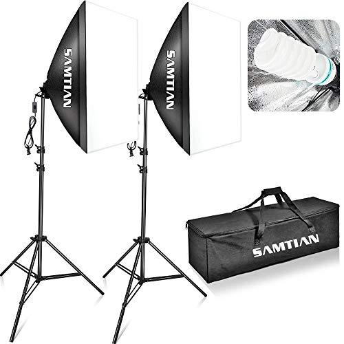 SAMTIAN Softbox Kit 5500K illuminazione Continua Studio Luci Studio Fotografico 20'x28'/50x70cm con...