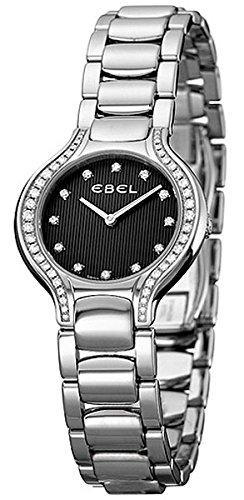 Ebel Beluga Mini Stainless Steel & Diamond Womens Watch Black Striped Dial 1215867 9003N18/391050 - 2
