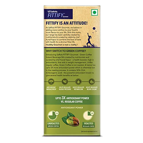 Saffola FITTIFY Gourmet Green Coffee Instant Beverage Mix, Assorted Pack, 2 X 10 g 9