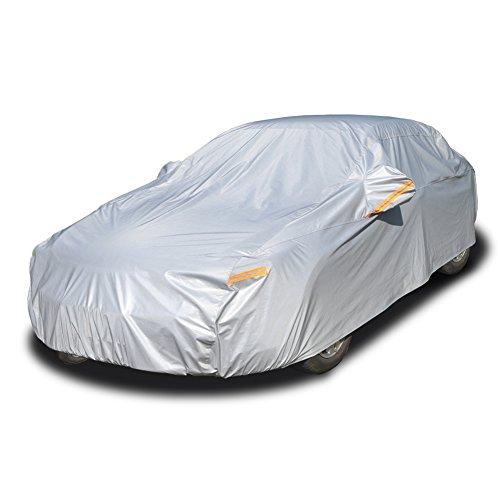 Kayme Vier Schichten autoabdeckung vollgarage für Winter & Sommer Wasserdicht Mit Baumwollreißverschluss Sun Uv Regenschutz Outdoor Fit Limousine (490x185x150CM) 3XL