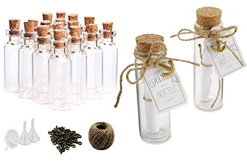 DIY Crafts 20 Pcs 20ml Cork Stoppers Glass Bottles, DIY Decoration Mini Glass Bottles Favors, Mini Vials Cork, Message Glass Bottle Vial Cork, Small Glass Bottles Jars Corks for Wedding Party Favors 8