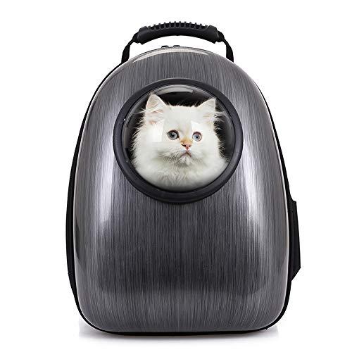 Petcomer Mochila Cápsula Impermeable Transportín en Forma de Burbuja para Mascotas Perros Gatos (Negro)