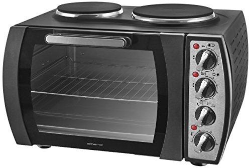 Emerio MO-114979 Mini-Backofen mit 2 Kochfeldern, 2930 Watt, Ober-/Unterhitze, Mini-Küche, Camping-Küche, 28L Volumen, bis 250°C, Edelstahl Heizelement