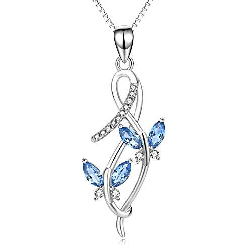 Collar Mujeres Plata de Ley 925 Mariposa infinito Colgante con Cadena de Eslabón Cuadrado