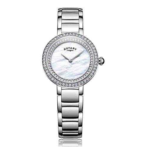 Rotary Damen Datum klassisch Quarz Uhr mit Edelstahl Armband LB05085/41L