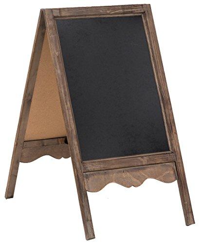 Lavagna da terra bifacciale con cornice in legno finitura anticata 50x6x95 cm