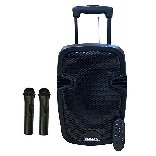TAKARA Portable Trolley Speaker 8 Inch Woofer Multimedia BT, Karaoke with Audio Recording, USB, PA System with 2 Wireless Mic,