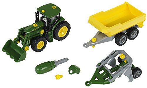 Theo Klein-3904 John Deere Tractor con Remolque Volquete Y Arado, Juguete (3904)