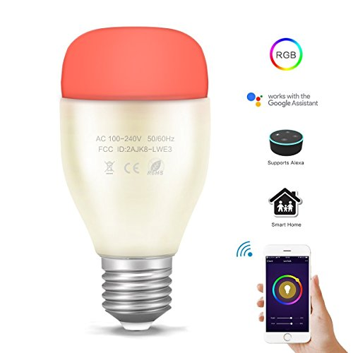 REES52 E27 RGBW Alexa APP Remote Control Music Rhythm Dimmable Metal WiFi Smart Echo LED Bulb for Android iOS Smartphone (White, 6W)