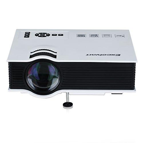 Excelvan UC40 Mini LED Proyector Portátil Multimedia Cine Teatro (800 Lumenes, 800*480RGB 1080HD , Altavoz, Batería Externa Compatible con Smartphone Cámara) - Blanco