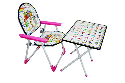 Tender Care India Plastic, Particle Wood, Stainless Steel and Paper Multipurpose Kids Study Table Chair Toy Set (Pink)