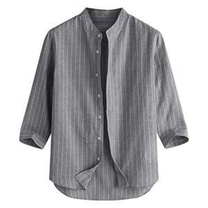 UINGKID-Herren-T-Shirt-Kurzarm-Slim-fit-Sommer-lssig-gestreiften-Stehkragen-7-Punkte-rmel-Knopf-Baumwollhemd-Top