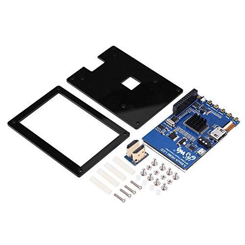 Zerone Display LCD Raspberry Pi TFT da 3.5 Pollici con Custodia Acrilica Nera, Monitor HDMI Touch Screen 1080P IPS 60fps per Raspberry Pi 3 Modello B +
