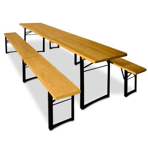 Deuba Bierzeltgarnitur klappbar 220cm I 2X Sitzbank & Tisch | leicht zu transportieren I Festzeltgarnitur Biertischgarnitur Gartenmöbel Set