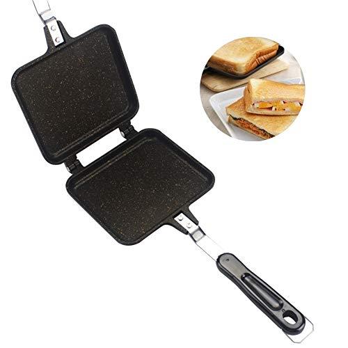 Tostapane per sandwich, da campeggio, in lega di alluminio, antiaderente, con due lati, Nero, Taglia...