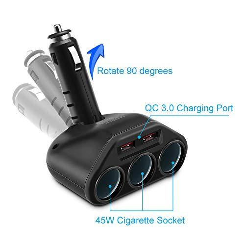 Rocketek Caricatore Auto Rapido Quick Charge 3.0, Due Porte USB QC 3.0 QC+ 3 Caricatore per Auto con...