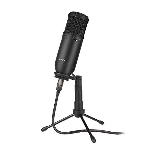 AUKEY Microphone à condensateur Microphone cardioïde USB avec filtre passe-bas et PAD, Trépied pour MAC et PC