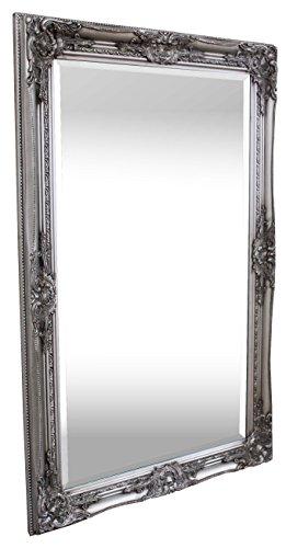 Rococo by Casa Chic - Silberner Shabby Chic Spiegel - Massivholz - Handgefertigt - Barock - Groß - 90x60 cm - Antik Silber