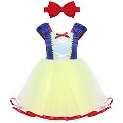 iEFiEL Vestido de Princesa para Bebé Niña (1-5 Años) Disfraz de Infantil Vestido de Fiesta Carnaval Actuación Ceremonia Cosplay Azul y Amarillo 5 Años
