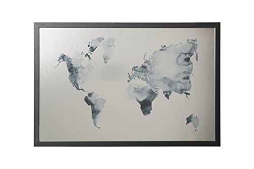 Bi-Office, Lavagna Ink Mappa del Mondo, Finitura Argento Magnetica Cancellabile a Secco, Cornice...
