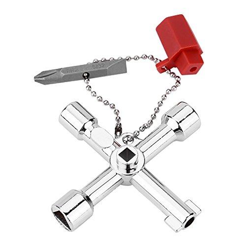 Kreuzschlüssel - 4-Wege-Multifunktions-Universalschlüssel mit Bit, Zinklegierung Klempner Elektriker-Werkzeuge