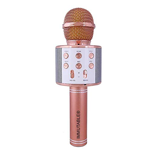 IMMUTABLE W858 Handheld Wireless Microphone With Dual Bluetooth Speaker& Karaoke Mic For All IOS/Android Smartphones Assorted color