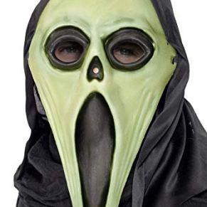 Smiffy's-99024 Halloween Careta Monstruo gritador, con Capucha, Brilla en la Oscuridad, Color Negro y Blanco, Tamaño único (99024)