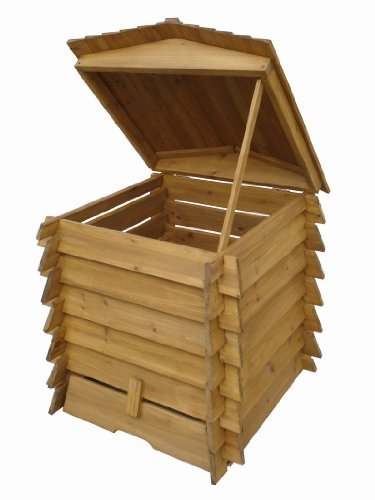 We love this Wooden Compost bin for the obvious reason – it's wooden. It's more eco-friendly than plastic composters plus you can apply your own paint if you wish to in order to blend in with your garden. Yes the instructions are a bit lacking but once you figure it out, you'll have a strong, large and attractive composter in your garden.