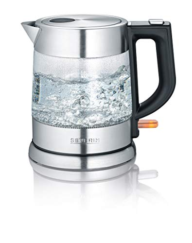 SEVERIN 3468-000 WK 3468 Glas-Wasserkocher, Schwarz, Edelstahl, Transparent