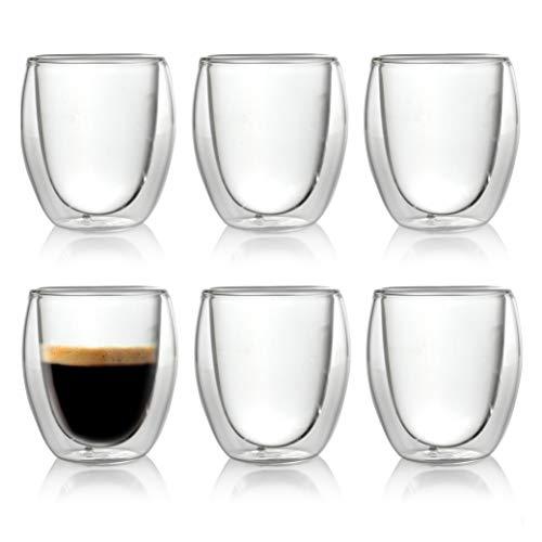 Caffé Italia Roma 6 x 60 ml Bicchieri Termici con Doppio Vetro - per Espresso Bevande Calde e...
