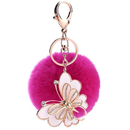 Falso conejo bola de forro pedrería mariposa llavero bolsa bolso llavero rosa rojo