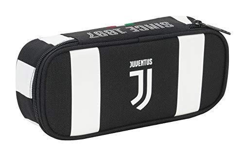 Bustina Round Plus Juventus Coaches, Bianco & Nero, Scomparto Interno Portapenne, Scuola