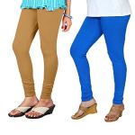 Anaro V-cut solid premium four way stretchable cotton lycra churidar leggings for womens and girls(Combo pack of two)